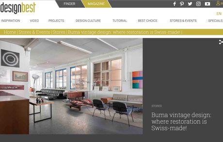 Merci, Designbest Magazin für den Bericht über Buma  Bildschirmfoto 2018 07 04 Um 21 28 27 Buma Möbelklassiker Vintage-Klassiker und Designermöbel Möbel Olten Zürich Schweiz